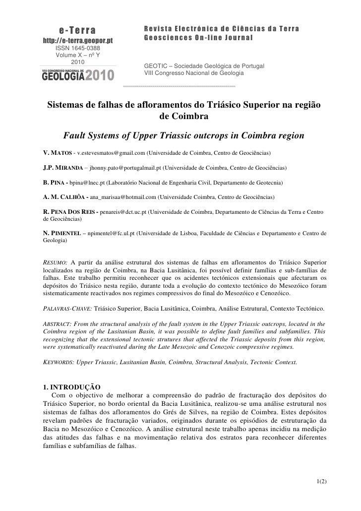 e-Terra                            Revista Electrónica de Ciências da Terrahttp://e-terra.geopor.pt                 Geosci...