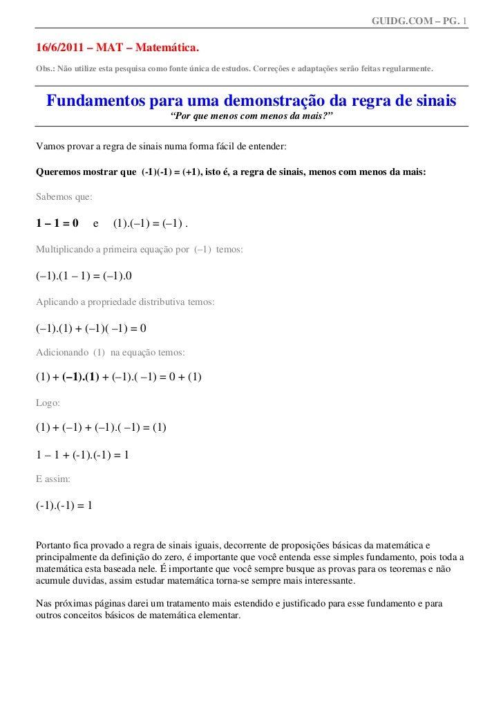 GUIDG.COM – PG. 116/6/2011 – MAT – Matemática.Obs.: Não utilize esta pesquisa como fonte única de estudos. Correções e ada...
