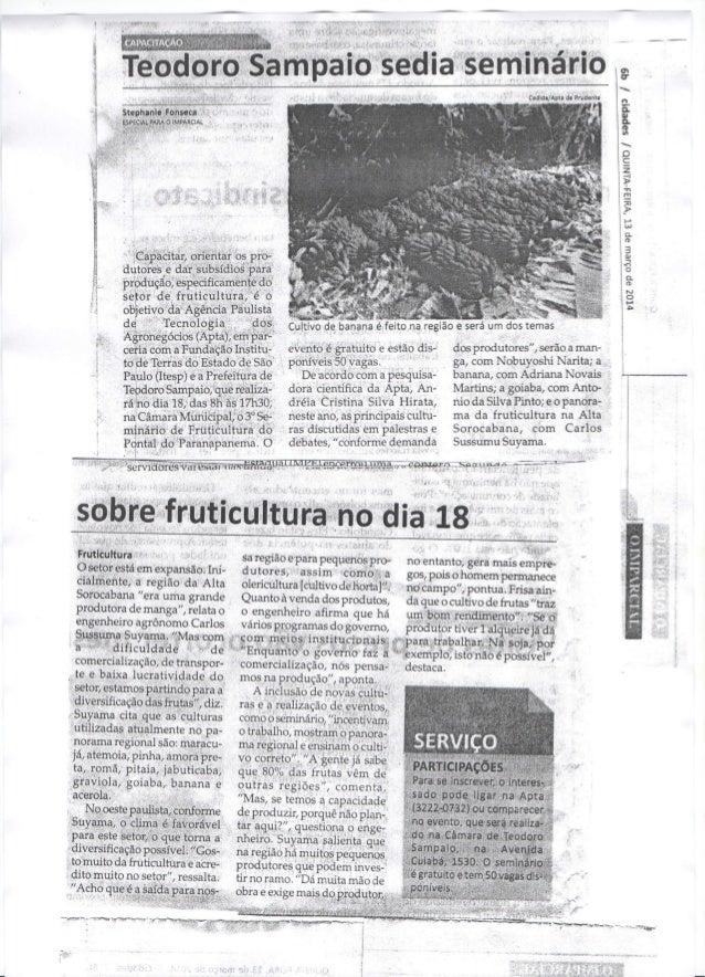 O Imparcial - III Seminário de Fruticultura