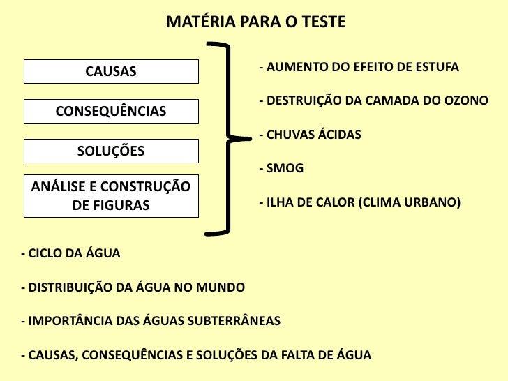 MATÉRIA PARA O TESTE<br />- AUMENTO DO EFEITO DE ESTUFA<br />- DESTRUIÇÃO DA CAMADA DO OZONO<br />- CHUVAS ÁCIDAS<br />- S...