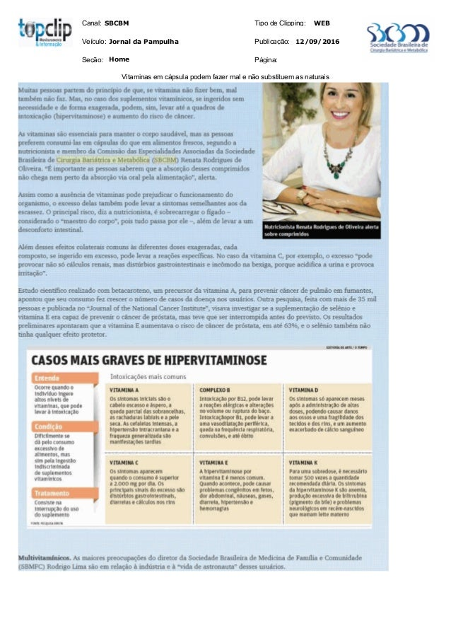 Canal: Veículo: Tipo de Clipping: Publicação: WEB 12/09/2016Jornal da Pampulha SBCBM Seção: Página:Home Vitaminas em cápsu...
