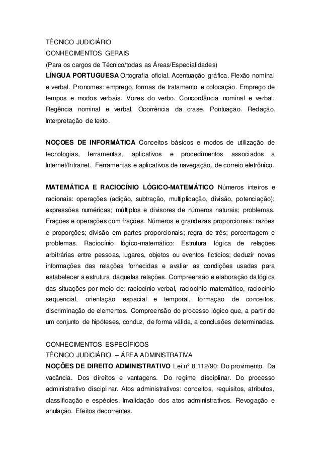 TÉCNICO JUDICIÁRIO CONHECIMENTOS GERAIS (Para os cargos de Técnico/todas as Áreas/Especialidades) LÍNGUA PORTUGUESA Ortogr...