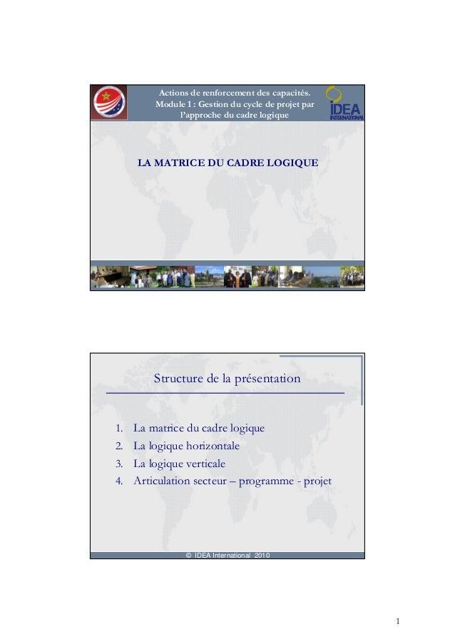 Actions de renforcement des capacités.        Module 1 : Gestion du cycle de projet par             l'approche du cadre lo...