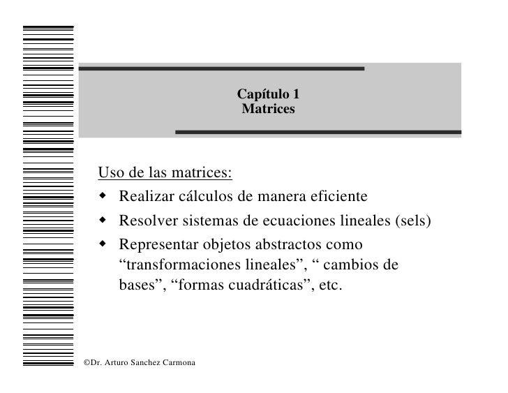 Capítulo 1                               Matrices       Uso de las matrices:    w Realizar cálculos de manera eficiente   ...