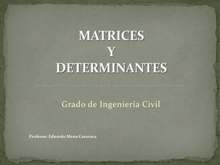 Grado de Ingeniería Civil   Profesor: Eduardo Mena Caravaca