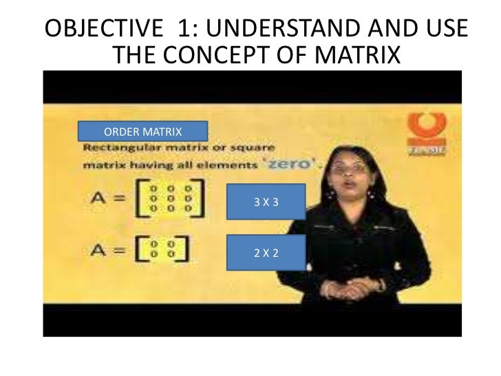 OBJECTIVE 1: UNDERSTAND AND USE     THE CONCEPT OF MATRIX    ORDER MATRIX                   3X3                   2X2