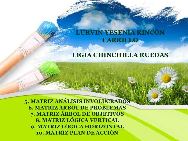 LURVIN YESENIA RINCÓN                     CARRILLO             LIGIA CHINCHILLA RUEDAS5. MATRIZ ANÁLISIS INVOLUCRADOS  6. ...
