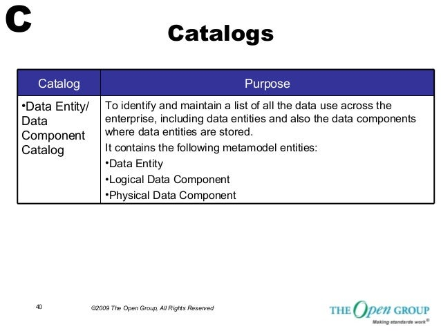 TOGAF Sample Matrices, Catalogs and Diagrams from the Open Group