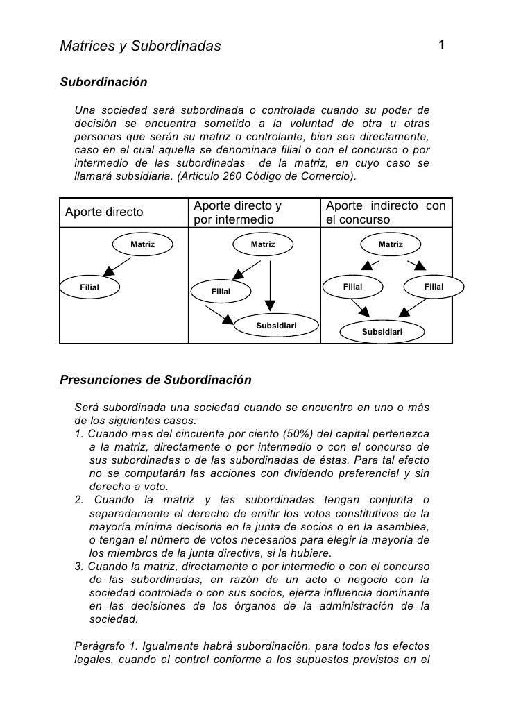 Matrices y Subordinadas                                                    1Subordinación  Una sociedad será subordinada o...