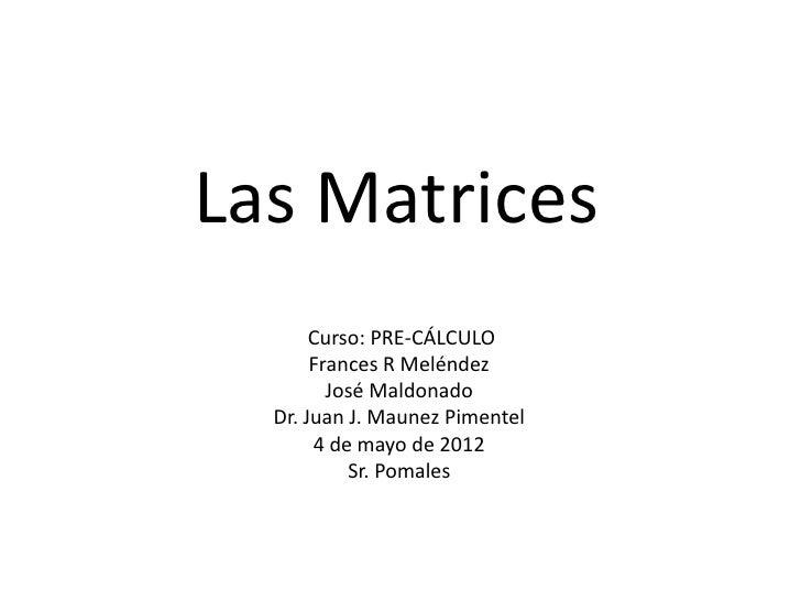 Las Matrices       Curso: PRE-CÁLCULO       Frances R Meléndez         José Maldonado  Dr. Juan J. Maunez Pimentel       4...