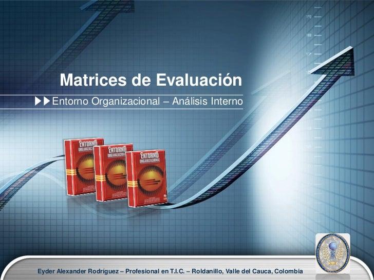 Matrices de Evaluación    Entorno Organizacional – Análisis InternoEyder Alexander Rodríguez – Profesional en T.I.C. – Rol...