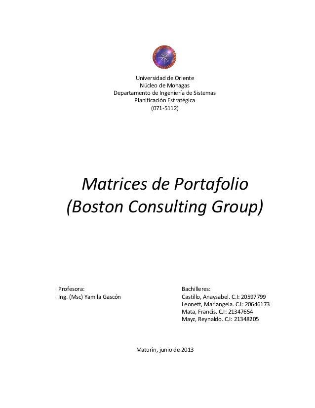 Universidad de Oriente Núcleo de Monagas Departamento de Ingeniería de Sistemas Planificación Estratégica (071-5112) Matri...