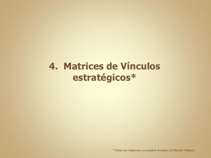 4.  Matrices de Vínculos estratégicos* * Todas las imágenes y conceptos tomados de Marcelo Manucci