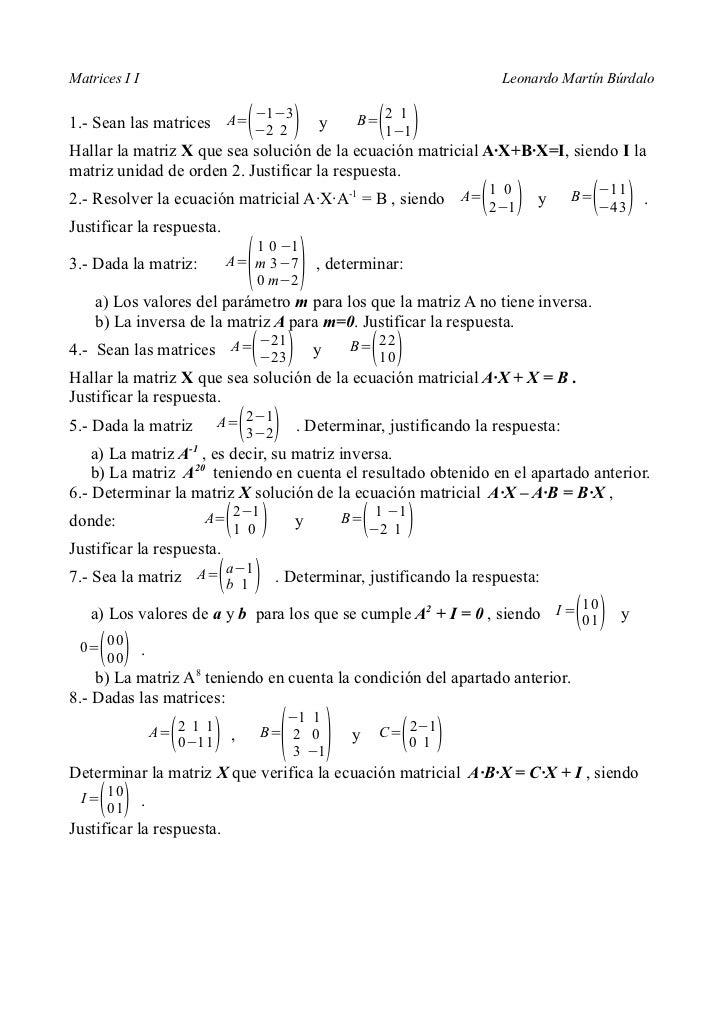 Matrices I I                                                               Leonardo Martín Búrdalo                        ...