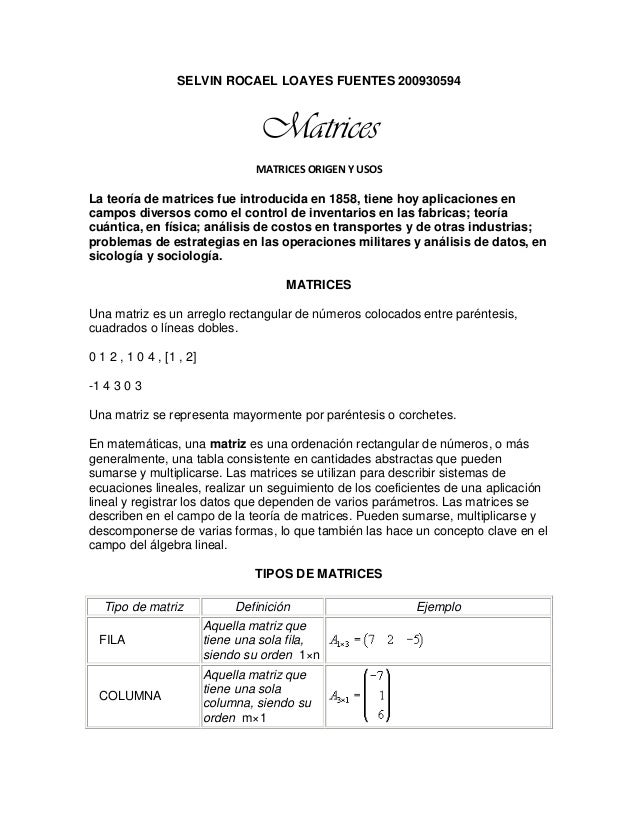 SELVIN ROCAEL LOAYES FUENTES 200930594 Matrices MATRICES ORIGEN Y USOS La teoría de matrices fue introducida en 1858, tien...