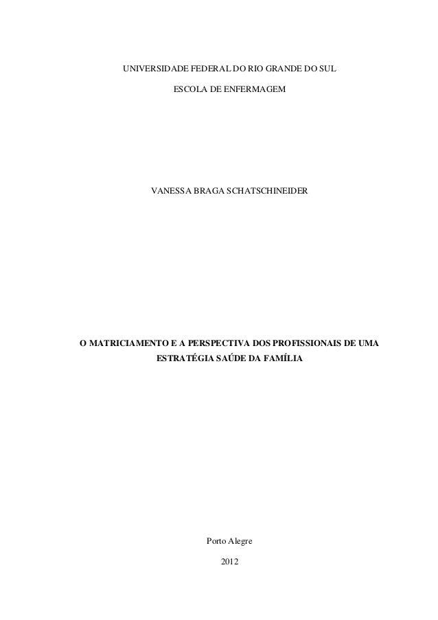 0 UNIVERSIDADE FEDERAL DO RIO GRANDE DO SUL ESCOLA DE ENFERMAGEM VANESSA BRAGA SCHATSCHINEIDER O MATRICIAMENTO E A PERSPEC...