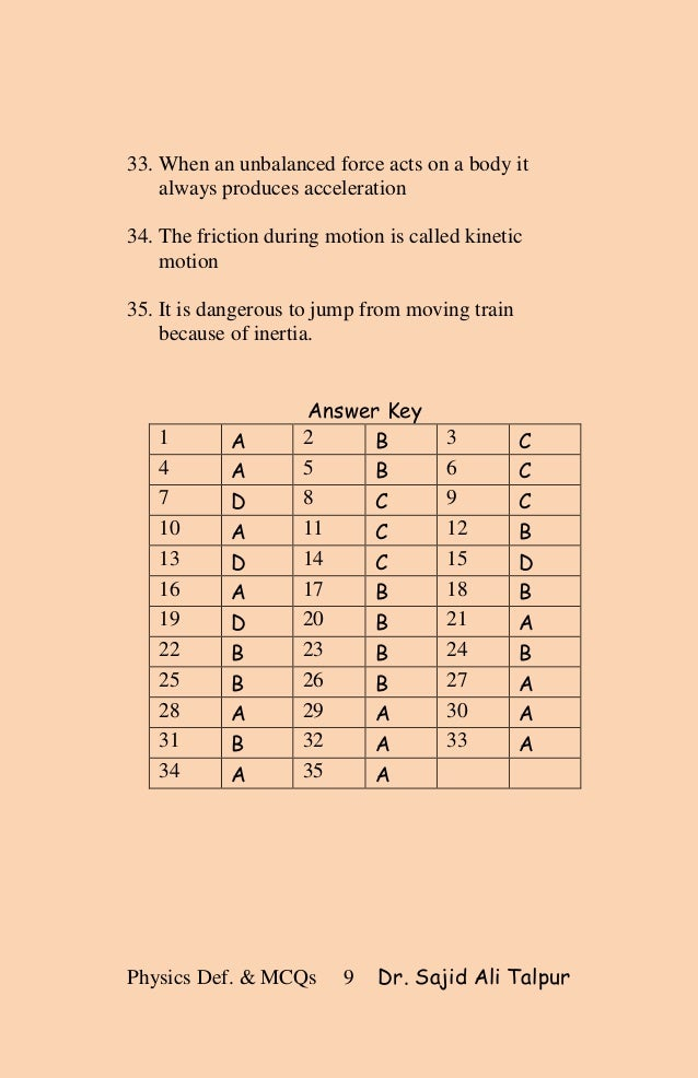 Definitions and mcqs of matric physics (force and motion)
