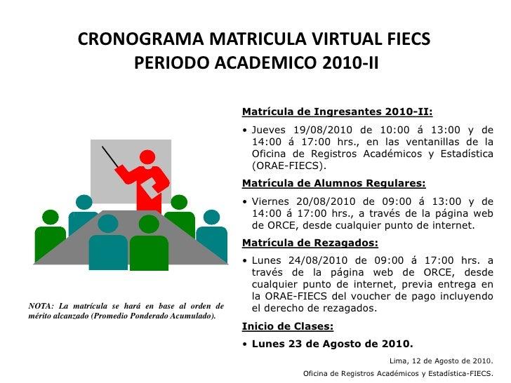 CRONOGRAMA MATRICULA VIRTUAL FIECS PERIODO ACADEMICO 2010-II<br />Matrícula de Ingresantes 2010-II:<br /><ul><li>Jueves 19...