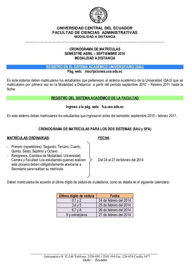 UNIVERSIDAD CENTRAL DEL ECUADOR FACULTAD DE CIENCIAS ADMINISTRATIVAS MODALIDAD A DISTANCIA  ______________________________...