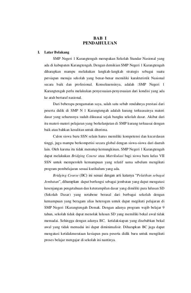 BAB IPENDAHULUANI. Latar BelakangSMP Negeri 1 Karangtengah merupakan Sekolah Standar Nasional yangada di kabupaten Karangt...