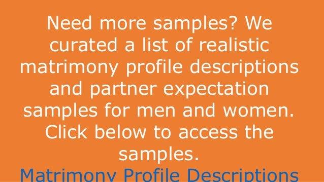 Matrimony profile description