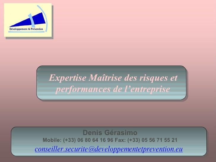 Expertise Maîtrise des risques et performances de l'entreprise Denis Gérasimo Mobile: (+33) 06 80 64 16 96 Fax: (+33) 05 5...