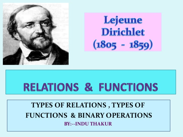 TYPES OF RELATIONS , TYPES OFFUNCTIONS & BINARY OPERATIONS         BY:--INDU THAKUR
