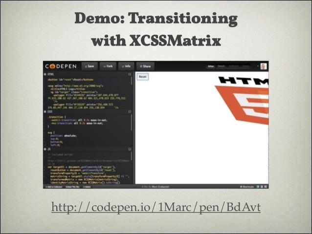 3D matrix  [1, 0, 0, 0, 0, 1, 0, 0, 0, 0, 1, 0, 0, 0, 0, 1] http://www.eleqtriq.com/wp-content/static/demos/2010/css3d/mat...