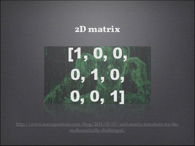 2D matrix  [1, 0, 0, 0, 1, 0, 0, 0, 1] http://www.useragentman.com/blog/2011/01/07/css3-matrix-transform-for-themathematic...