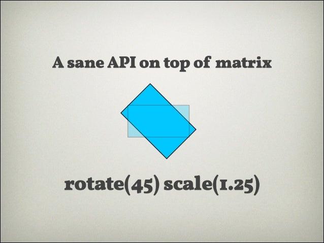 translate(x, y) rotate(angle) scale(x, y) skew(angle, angle)