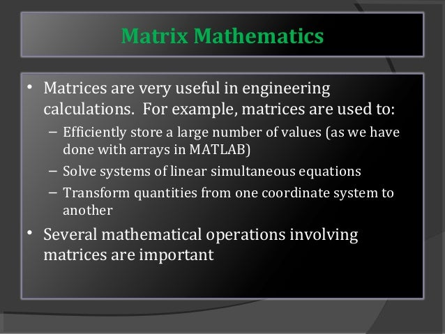 Matrix and its applications by mohammad imran