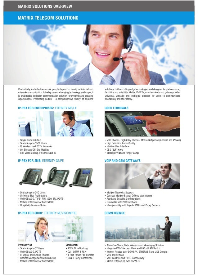MATRIX TELECOM SOLUTIONS Productivity and effectiveness of people depend on quality of internal and external communication...