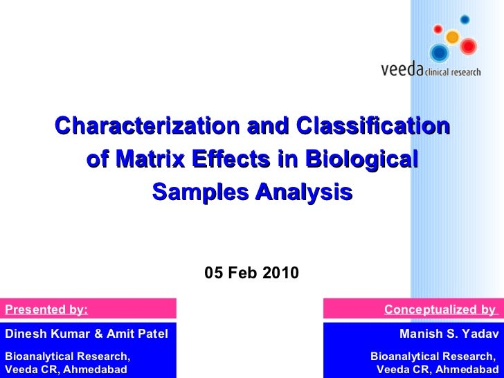 Characterization and Classification of Matrix Effects in Biological Samples Analysis 05 Feb 2010 Manish S. Yadav Bioanalyt...