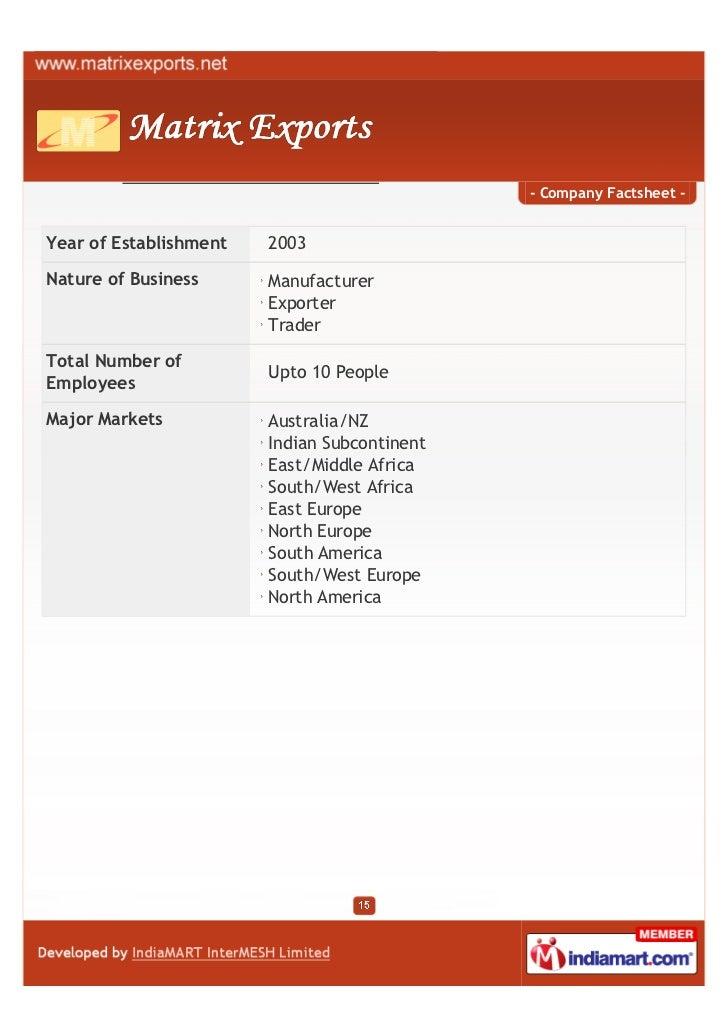 - Company Factsheet -Year of Establishment   2003Nature of Business      Manufacturer                        Exporter     ...