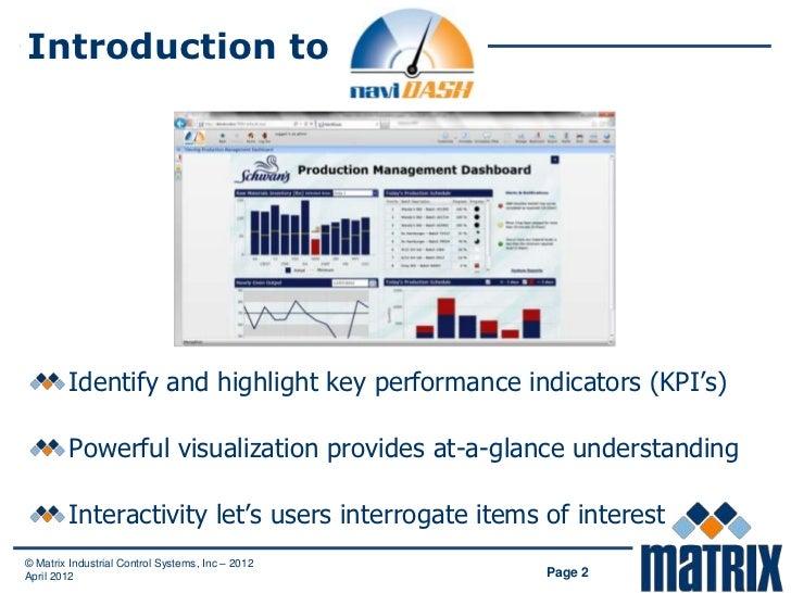 Introduction to         Identify and highlight key performance indicators (KPI's)         Powerful visualization provides ...