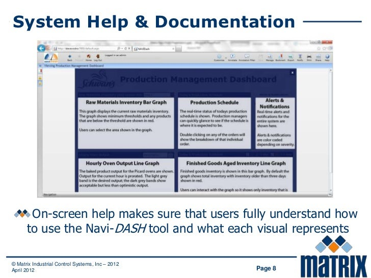 System Help & Documentation       On-screen help makes sure that users fully understand how      to use the Navi-DASH tool...