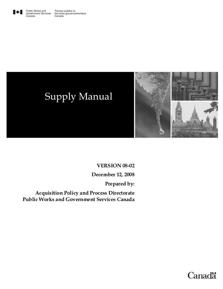 Supply Manual                               VERSION 08-02                            December 12, 2008                    ...