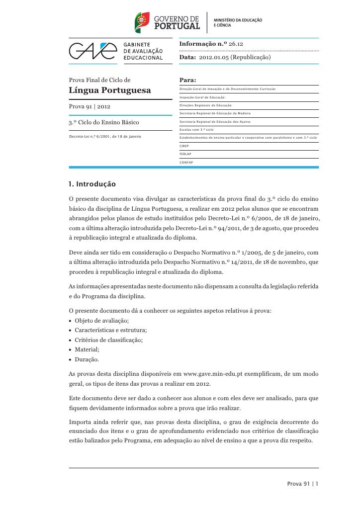Informação n.º 26.12                                           Data: 2012.01.05 (Republicação)Prova Final de Ciclo de     ...
