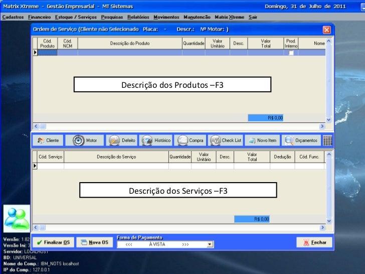Descrição dos Serviços –F3 Descrição dos Produtos –F3