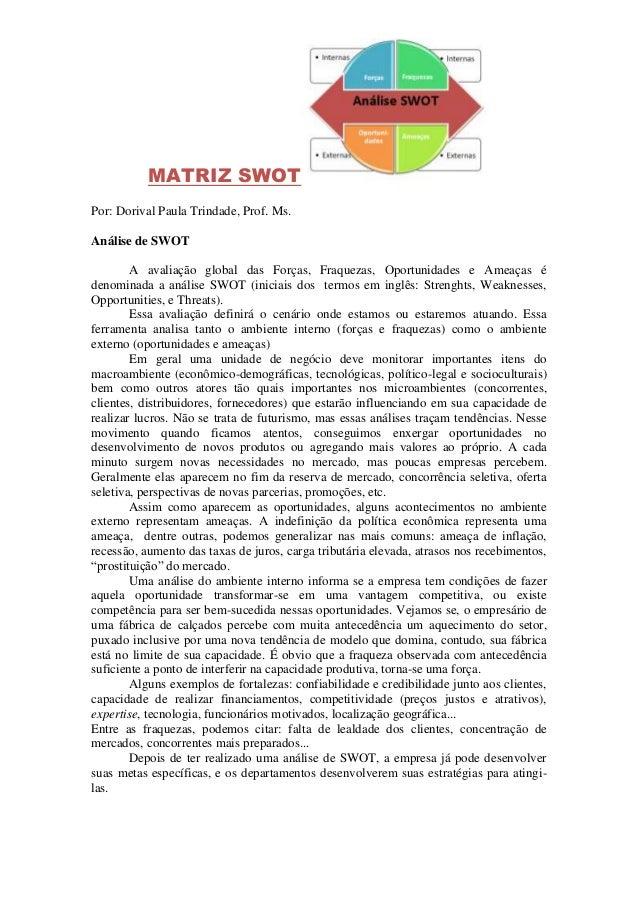 MATRIZ SWOT Por: Dorival Paula Trindade, Prof. Ms. Análise de SWOT A avaliação global das Forças, Fraquezas, Oportunidades...