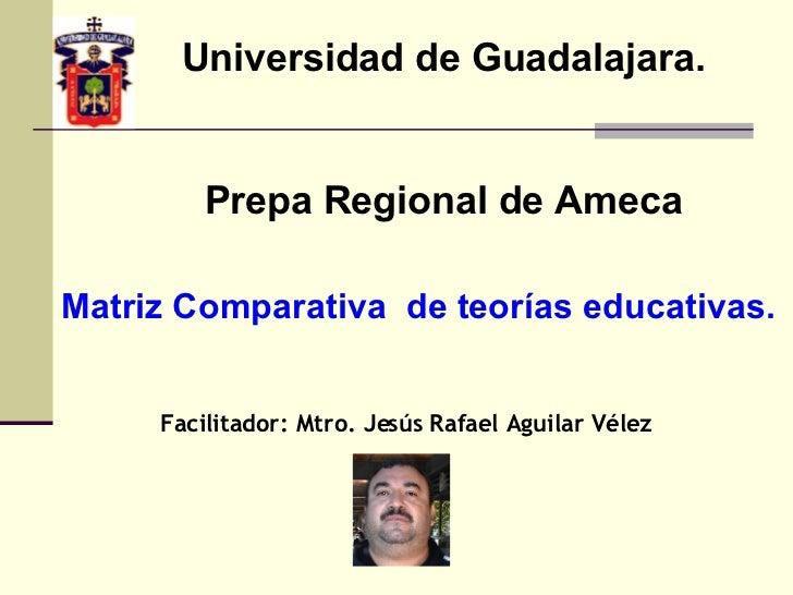Universidad de Guadalajara. Prepa Regional de Ameca Facilitador: Mtro. Jesús Rafael Aguilar Vélez Matriz Comparativa  de t...