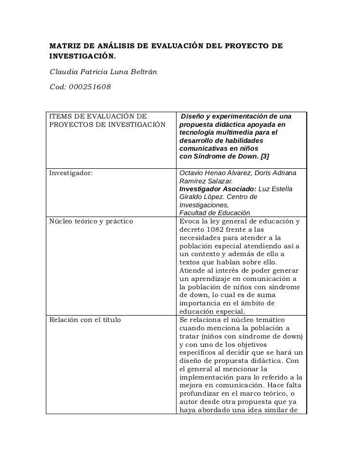 Matriz análisis de proy. investigación.