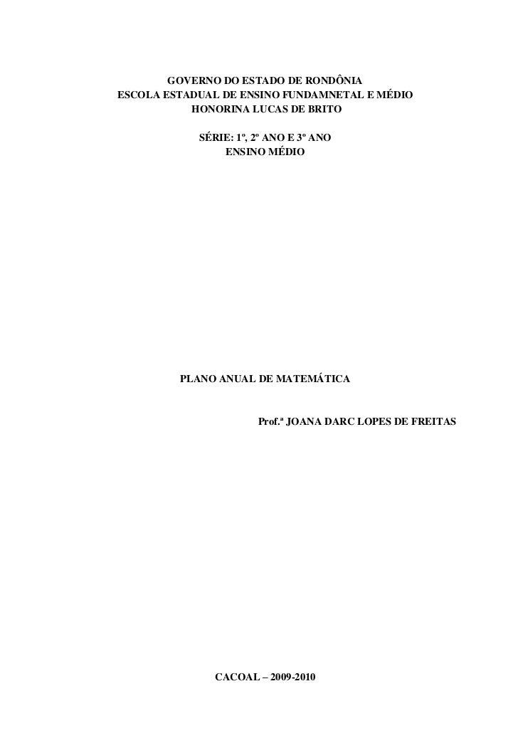 GOVERNO DO ESTADO DE RONDÔNIAESCOLA ESTADUAL DE ENSINO FUNDAMNETAL E MÉDIO           HONORINA LUCAS DE BRITO            SÉ...
