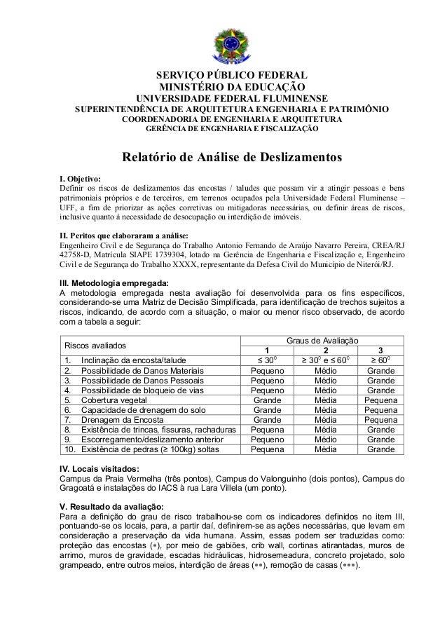SERVIÇO PÚBLICO FEDERAL MINISTÉRIO DA EDUCAÇÃO UNIVERSIDADE FEDERAL FLUMINENSE SUPERINTENDÊNCIA DE ARQUITETURA ENGENHARIA ...
