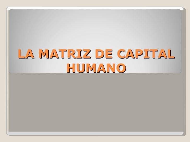 LA MATRIZ DE CAPITAL      HUMANO