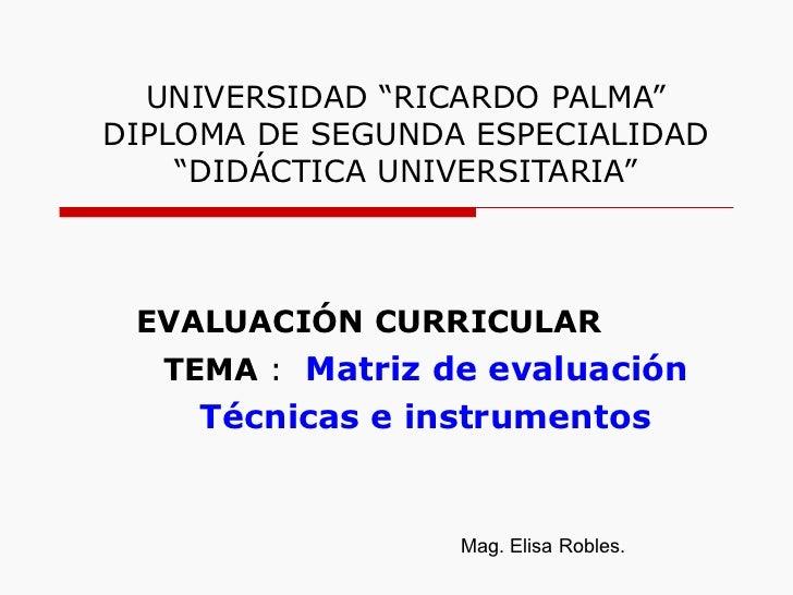 """UNIVERSIDAD """"RICARDO PALMA"""" DIPLOMA DE SEGUNDA ESPECIALIDAD """"DIDÁCTICA UNIVERSITARIA"""" EVALUACIÓN CURRICULAR TEMA  :  Matri..."""