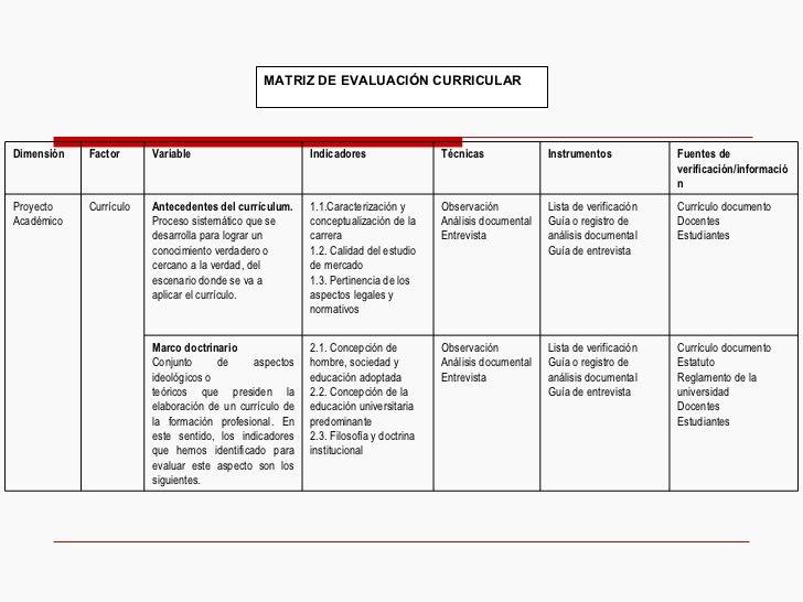 MATRIZ DE EVALUACIÓN CURRICULAR Currículo documento Estatuto Reglamento de la universidad  Docentes Estudiantes Lista de v...