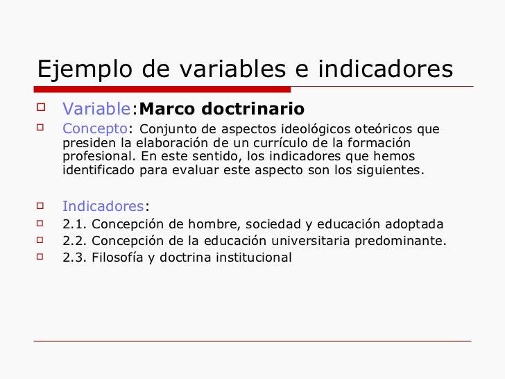 Ejemplo de variables e indicadores <ul><li>Variable : Marco doctrinario </li></ul><ul><li>Concepto :  Conjunto de aspectos...