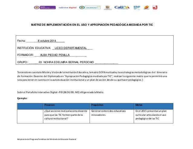 AdaptacióndelPrograma Temáticas delMinisterio deEducación Nacional MATRIZ DE IMPLEMENTACIÓN EN EL USO Y APROPIACIÓN PEDAGÓ...