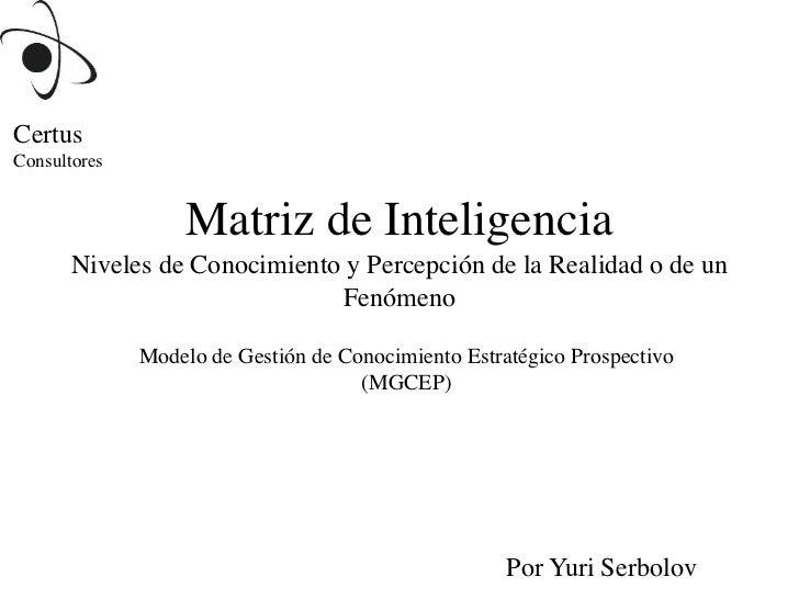 CertusConsultores                  Matriz de Inteligencia       Niveles de Conocimiento y Percepción de la Realidad o de u...
